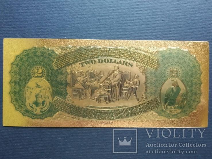 Золотая сувенирная банкнота США (2 Dollars 1875г), фото №3