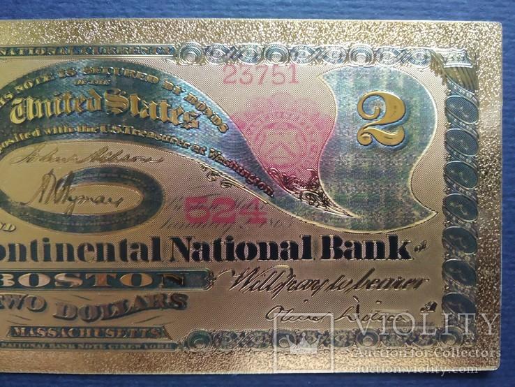 Золотая сувенирная банкнота США (2 Dollars 1875г), фото №5