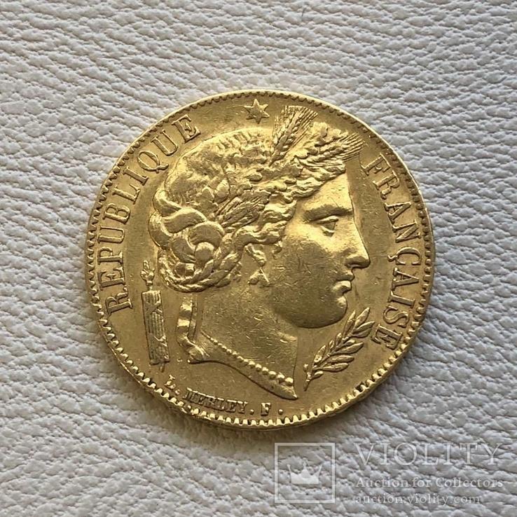 20 франков 1851 год А золото 6,45 грамм 900', фото №2
