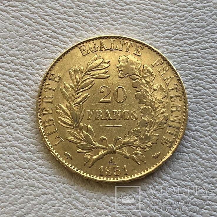 20 франков 1851 год А золото 6,45 грамм 900', фото №3