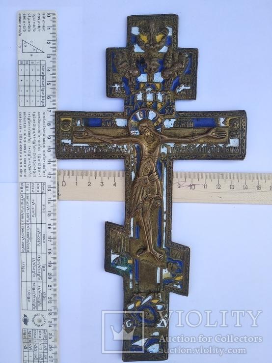 Крест киотный старообрядческий в эмалях 26х14см бронзовый.