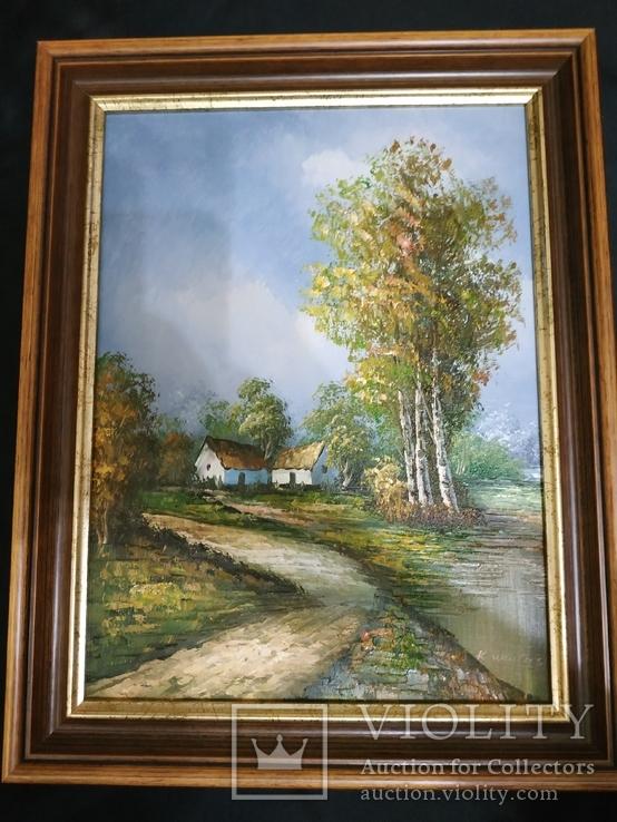 Картина холст масло подпись,дом возле лесу