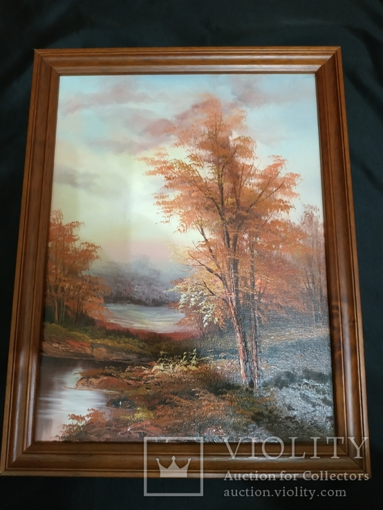 Картина холст маслом  подпись осень
