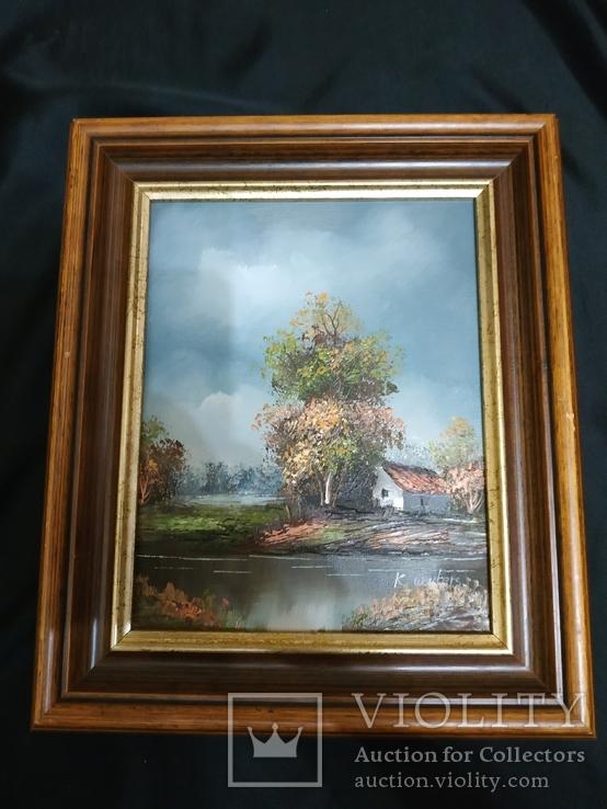 Картина холст маслом подпись дом возле води