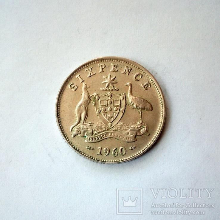 Австралия 6 пенсов 1960 г., фото №2