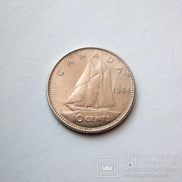 Канада 10 центов 1964 г., фото №3