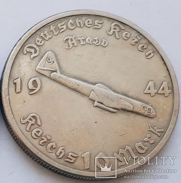 Германия. Третий рейх. Реактивный бомбардировщик Arado. 10 марок 1944 г. Копия, фото №2