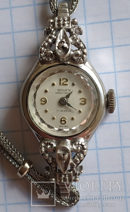 GRUEN swiss , позолота , бриллианты, фото №3