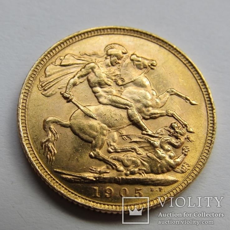 1 фунт (соверен) 1905 г. Британская империя., фото №3