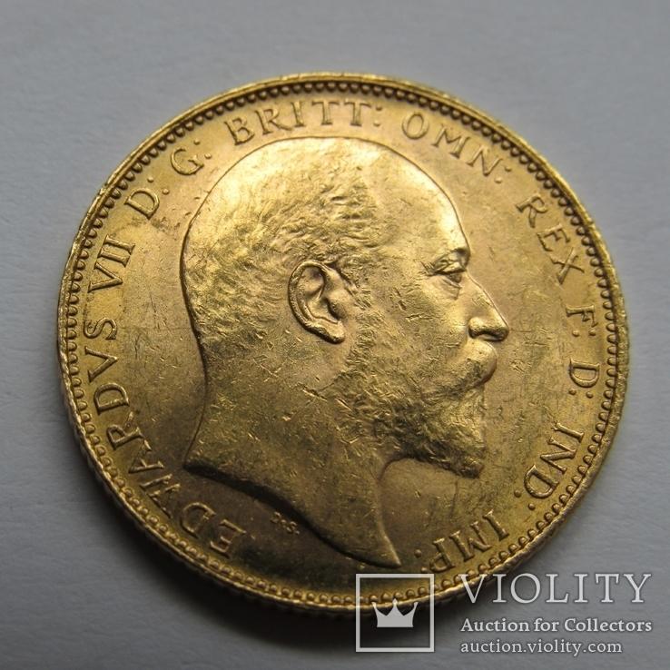 1 фунт (соверен) 1905 г. Британская империя., фото №4