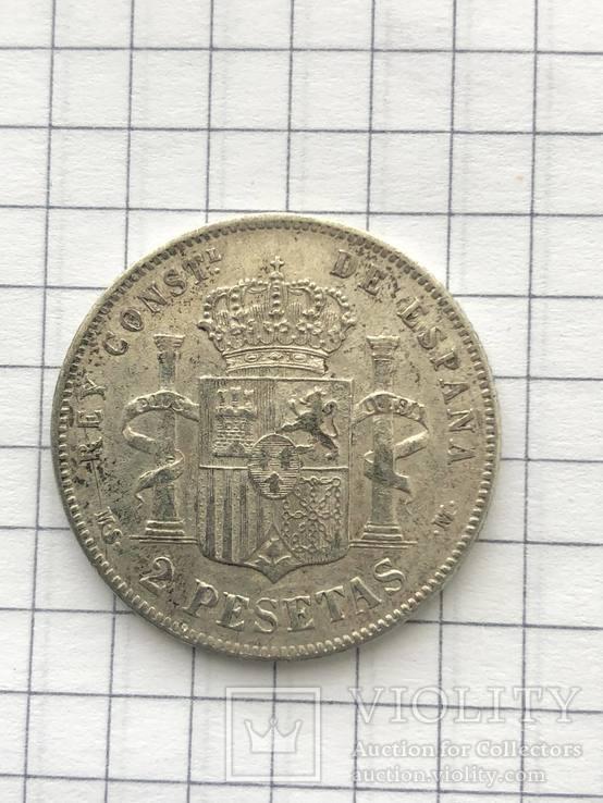2 Песеты 1884р(Испания) серебро 835 пробы(110), фото №4