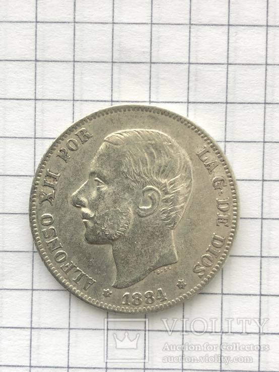 2 Песеты 1884р(Испания) серебро 835 пробы(110), фото №2