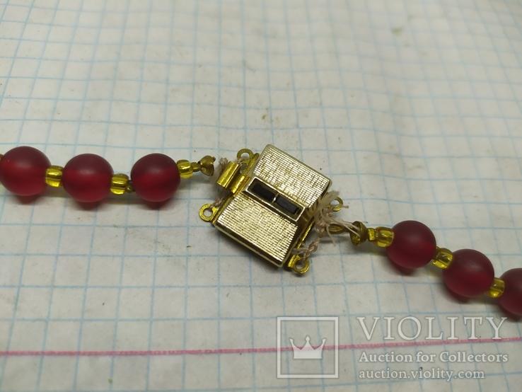 Стеклянные винтажные красные бусы, фото №11