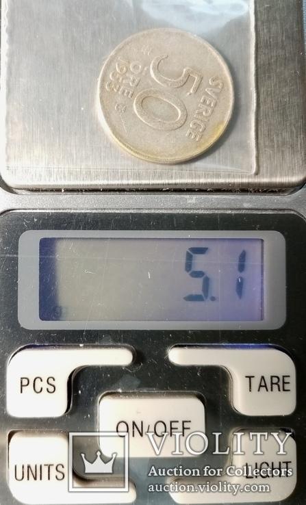 Швеция 50 эре 1953г серебро, фото №5