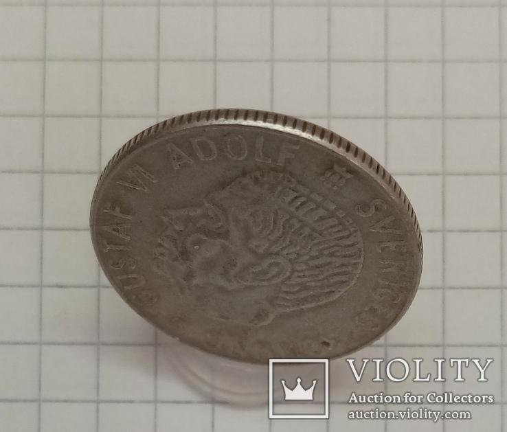 Швеция 1 крона 1955г серебро, фото №4