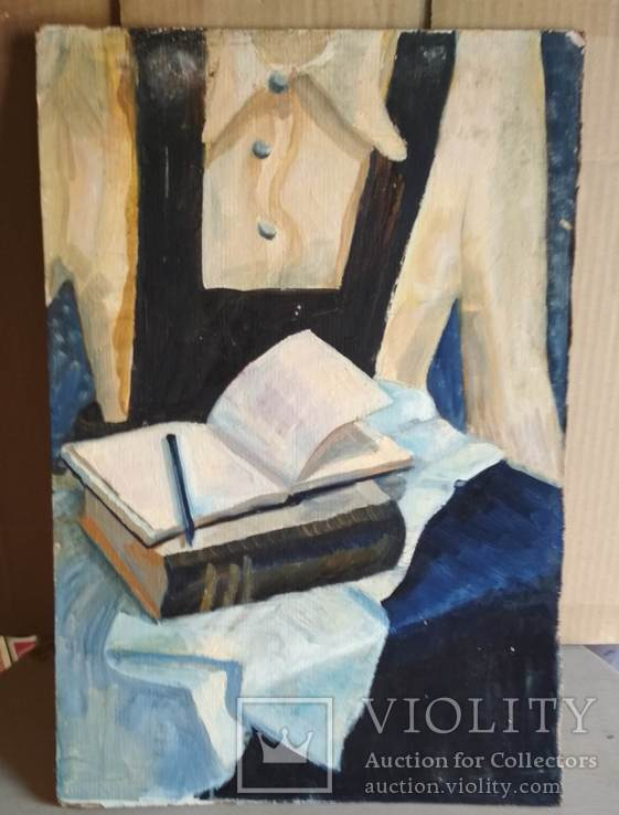 Картина масло, Девушка и книги, картон, 34,5х51см, художник неизвестный, фото №2