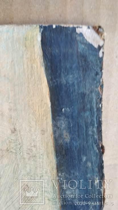 Картина масло, Девушка и книги, картон, 34,5х51см, художник неизвестный, фото №3