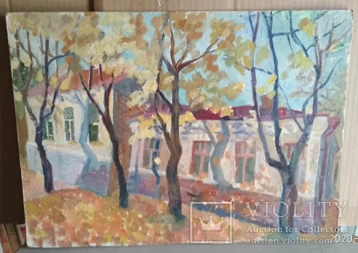 Необычная  двухстороння картина, масло, Дом и пейзаж, картон, 33,5х47см, художник неизв., фото №2