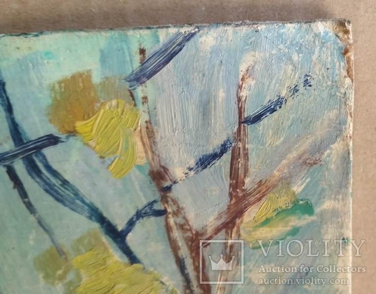 Необычная  двухстороння картина, масло, Дом и пейзаж, картон, 33,5х47см, художник неизв., фото №3