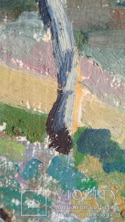 Необычная  двухстороння картина, масло, Дом и пейзаж, картон, 33,5х47см, художник неизв., фото №6