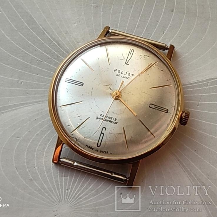 Часы Poljot de luxe 23 jewels  made in USSR . Полет плоский. позолота Au20
