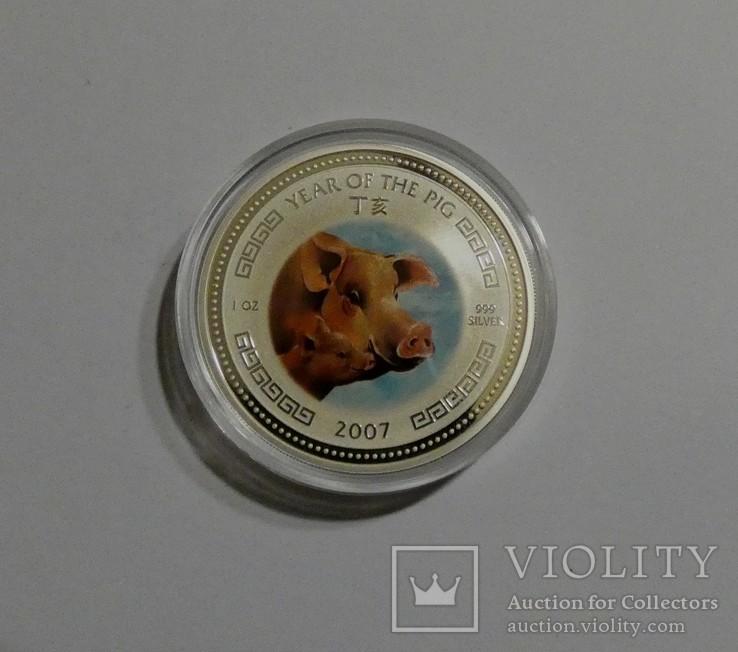 Год Свиньи - серебро 999, унция. С сертификатом., фото №3