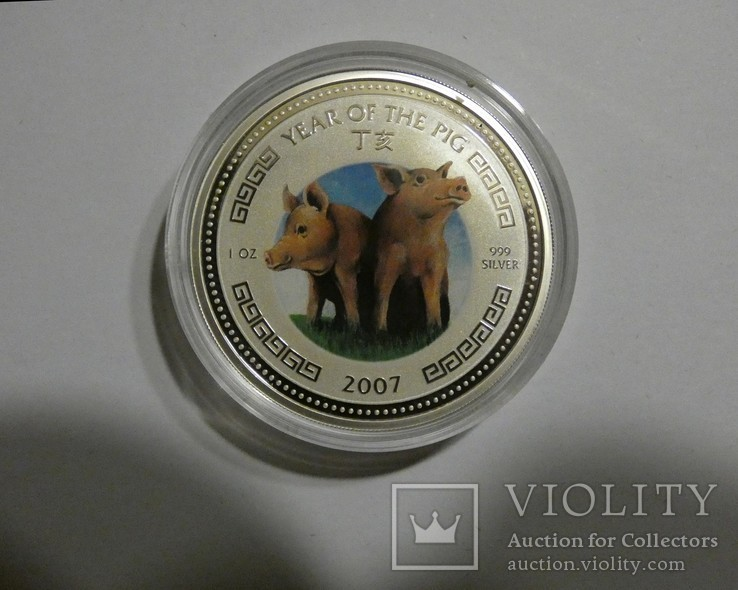 Год Свиньи - серебро 999, унция - с сертификатом., фото №3