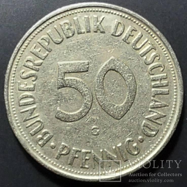 ФРГ. 50 пфеннигов 1950г. G (монетный двор Карлсруэ), фото №2