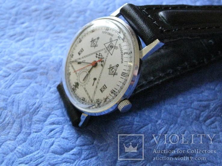 Часы Полет 23 камня Масонские символы рабочие на ремне р, фото №4