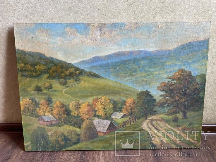 Картина Пейзаж Свалява Закарпаття В. Рудько 1980 год  92х63 см, фото №2