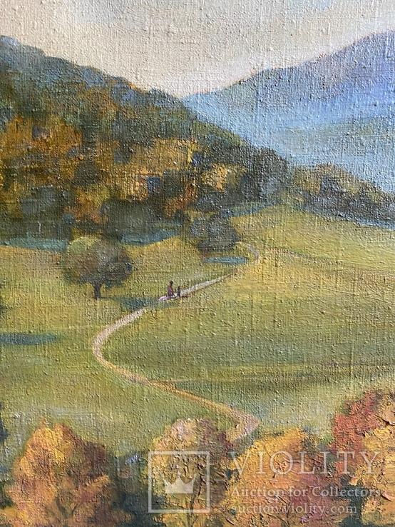 Картина Пейзаж Свалява Закарпаття В. Рудько 1980 год  92х63 см, фото №4