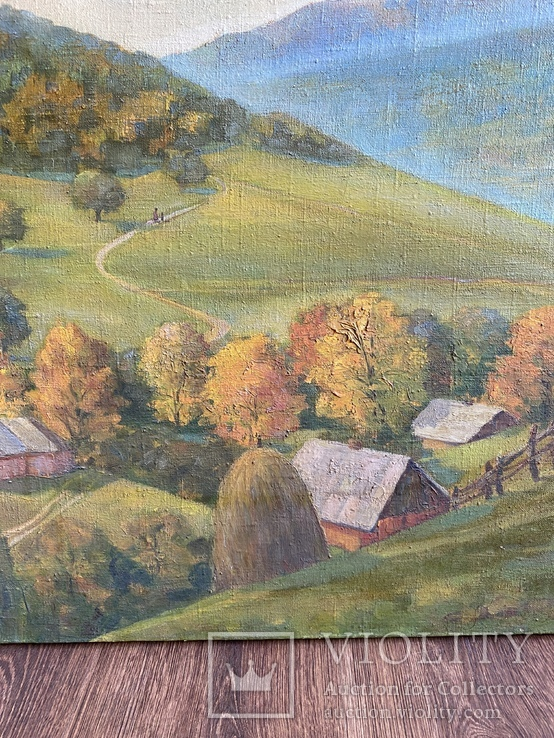 Картина Пейзаж Свалява Закарпаття В. Рудько 1980 год  92х63 см, фото №6