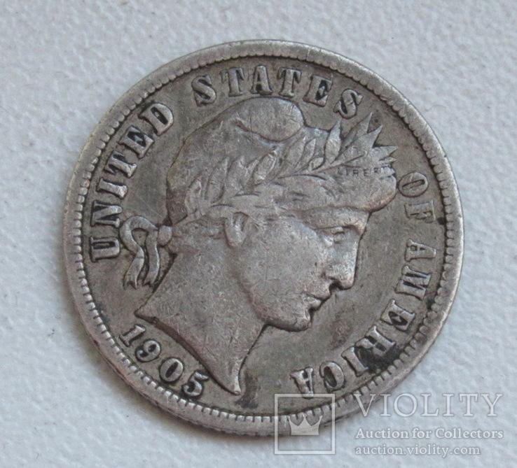1 дайм / 10 центов 1905 г. США, серебро, фото №6