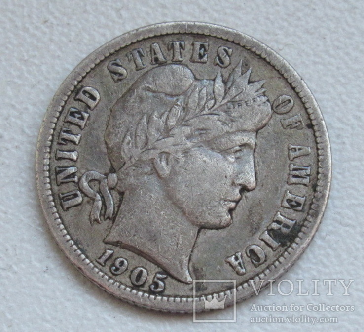 1 дайм / 10 центов 1905 г. США, серебро, фото №7