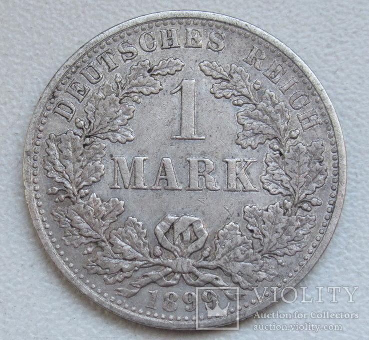 1 марка 1899 г. (А) Германия, серебро, фото №2