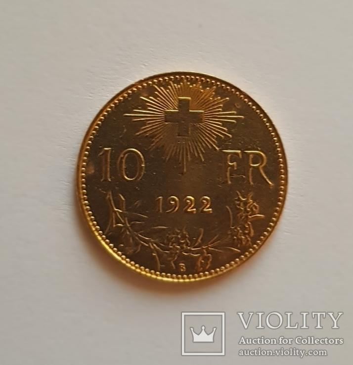 10 франков 1922 год, Швейцария, золото 3,225 грамм 900`, фото №4