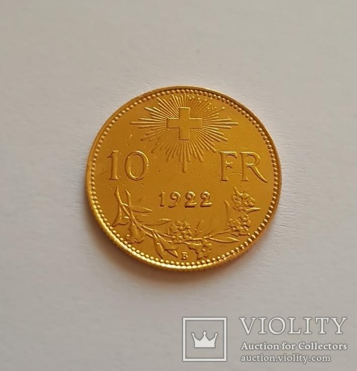 10 франков 1922 год, Швейцария, золото 3,225 грамм 900`