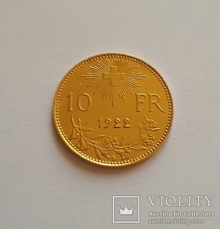 10 франков 1922 год, Швейцария, золото 3,225 грамм 900`, фото №2