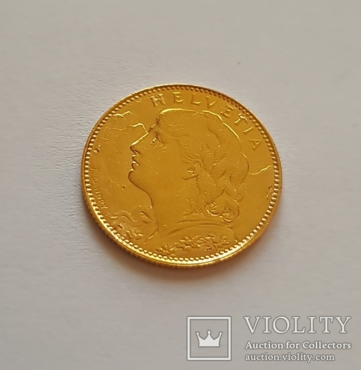 10 франков 1922 год, Швейцария, золото 3,225 грамм 900`, фото №5