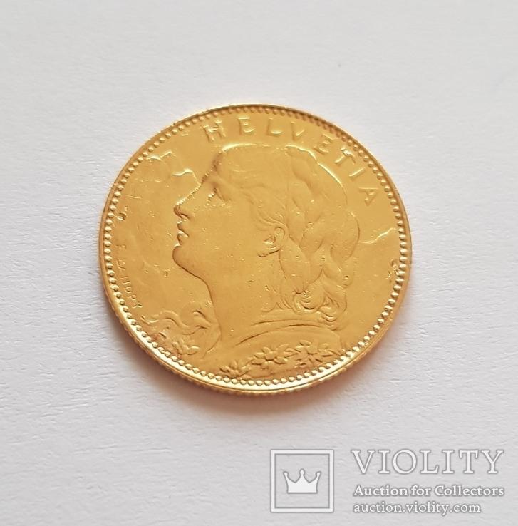 10 франков 1922 год, Швейцария, золото 3,225 грамм 900`, фото №6