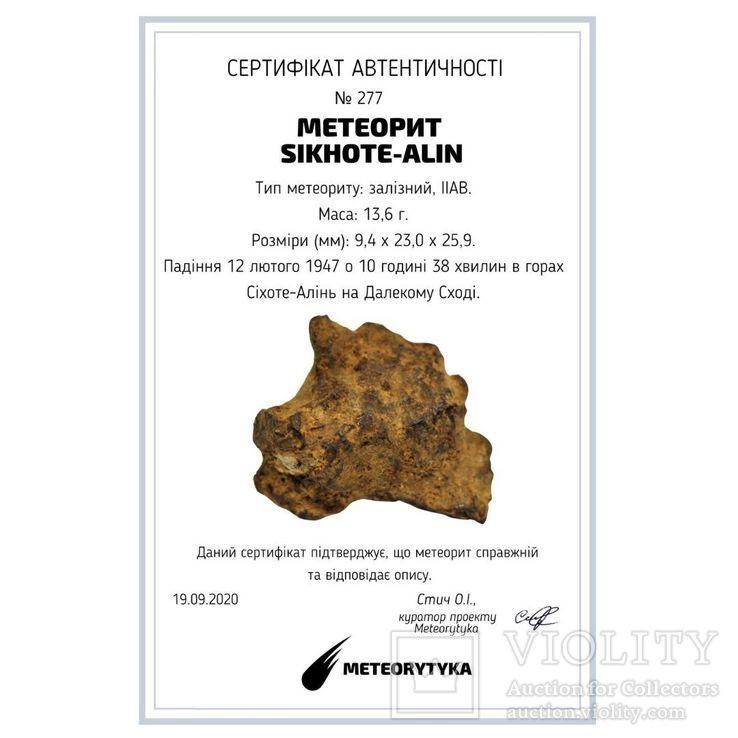 Залізний метеорит Sikhote-Alin, 13,6 грама, з сертифікатом автентичності, фото №3