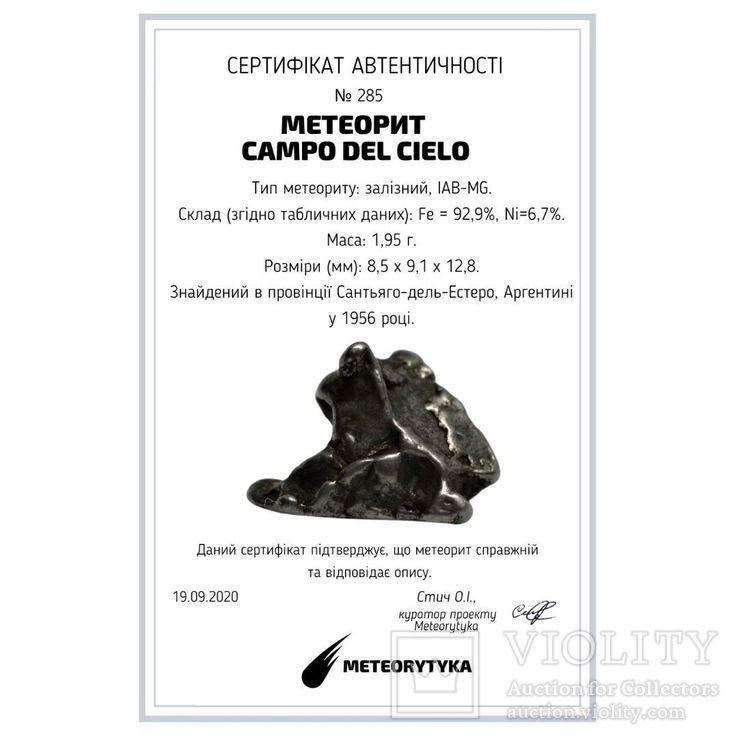 Залізний метеорит Campo del Cielo, 1,95 грам, із сертифікатом автентичності, фото №3