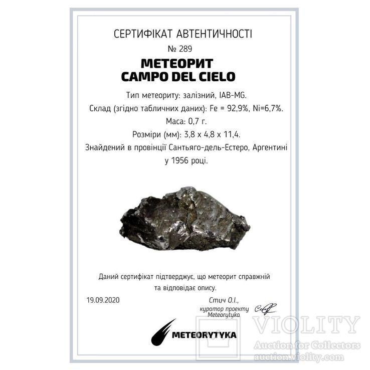 Залізний метеорит Campo del Cielo, 0,7 грам, із сертифікатом автентичності, фото №3