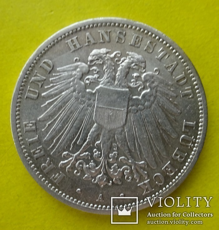 3 марки. Любек. 1913 год., фото №2