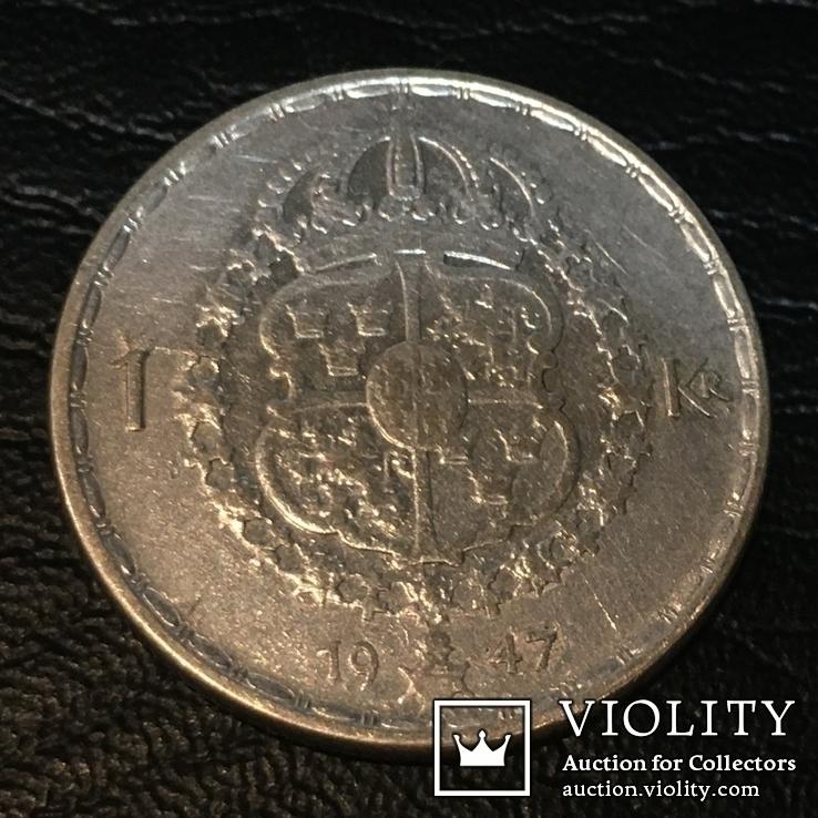 Серебро 1 крона, 1947 Швеция, фото №2