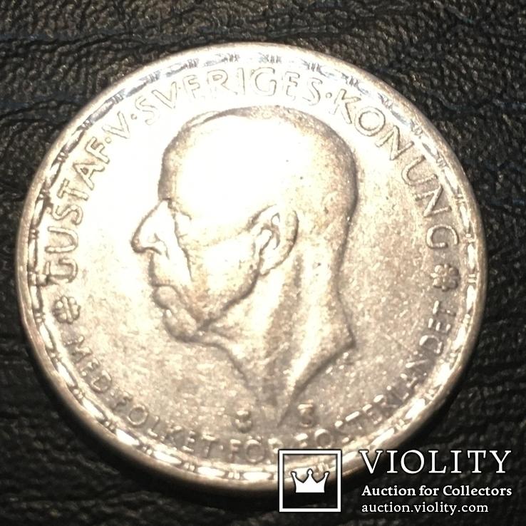 Серебро 1 крона, 1947 Швеция, фото №4
