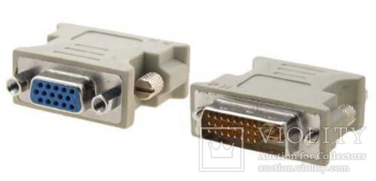 Переходник DVI Male 24+5 pin - VGA Female 15 pin 1 штука, фото №2