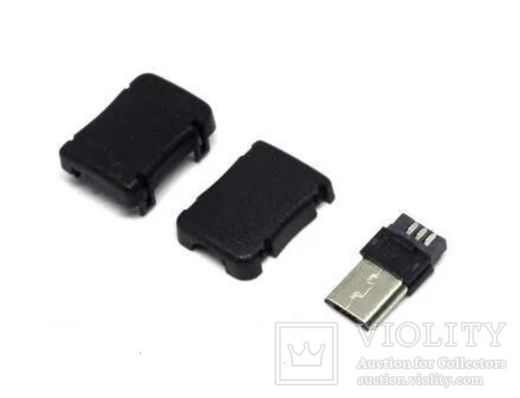 Штекер miсro USB под кабель, корпус пластик, черный