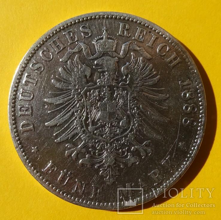 Бавария, 1888 год, 5 марок, Очень редкая!, фото №5