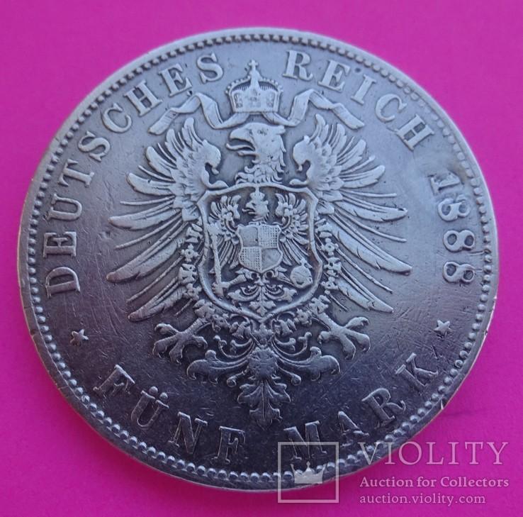 Бавария, 1888 год, 5 марок, Очень редкая!, фото №6